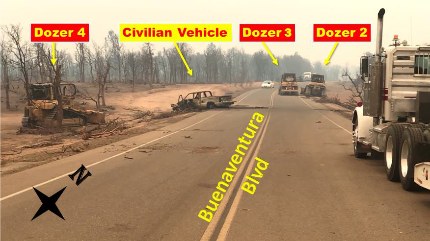 Final resting locations of the three dozers and the civilian vehicle. Photo courtesy of Cal Fire.{ }