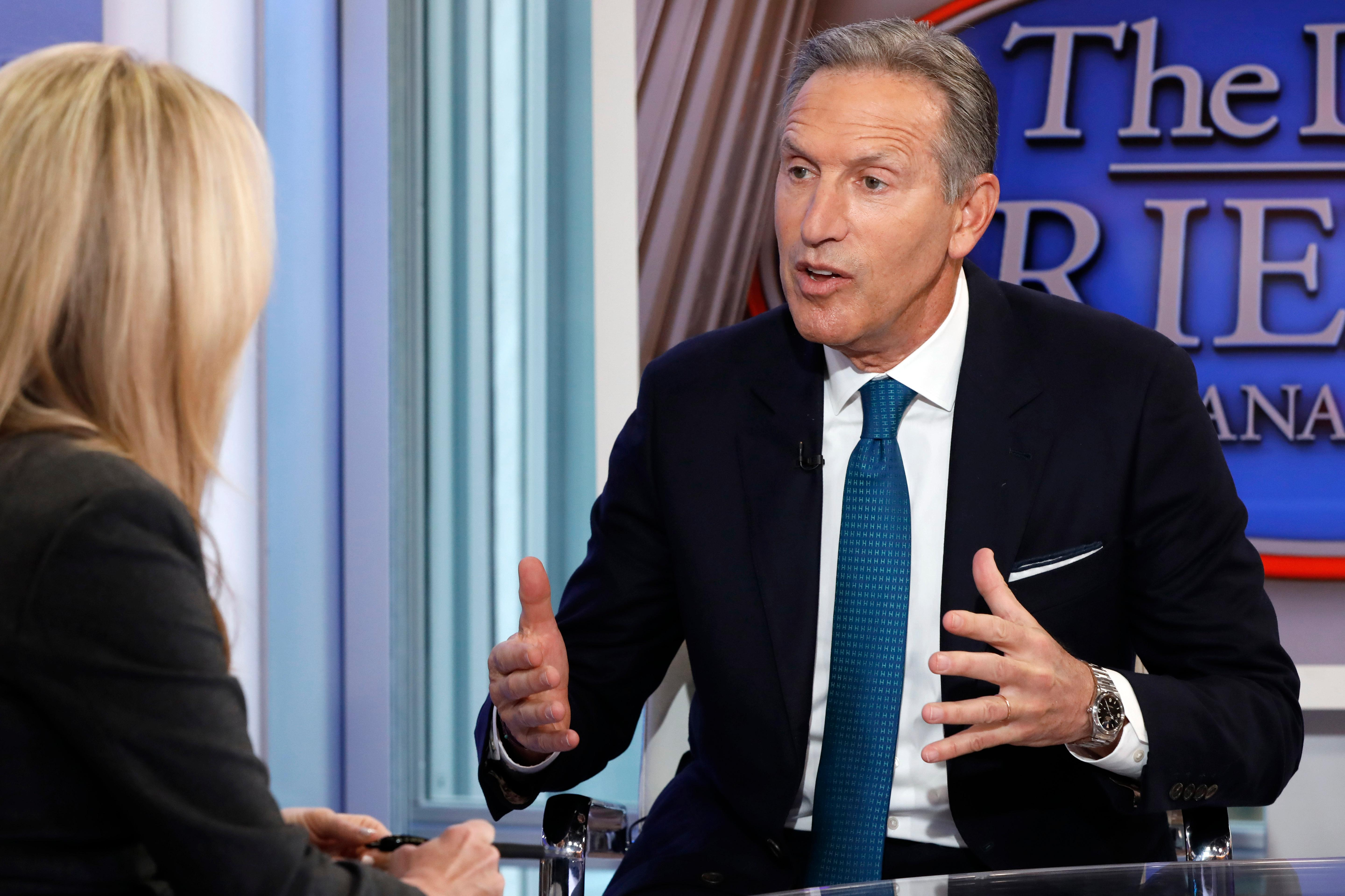 "FILE- In this Wednesday, Jan. 30, 2019, file photo former Starbucks CEO Howard Schultz is interviewed by FOX News Anchor Dana Perino for her ""The Daily Briefing"" program, in New York. (AP Photo/Richard Drew, File)"
