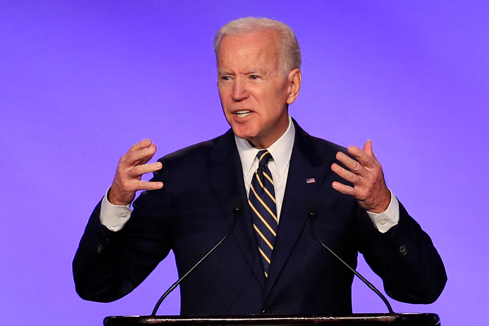 FILE - In this April 5, 2019, file photo, former Vice President Joe Biden speaks at the IBEW Construction and Maintenance Conference in Washington. (AP Photo/Manuel Balce Ceneta, File)