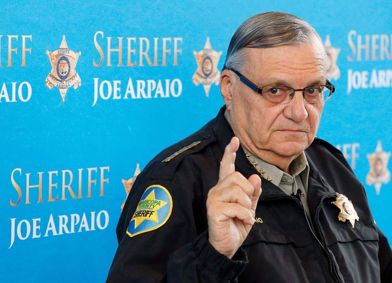 FILE - In this Dec. 18, 2013, file photo, Maricopa County Sheriff Joe Arpaio speaks at a news conference at the Sheriff's headquarters in Phoenix, Ariz. (AP Photo/Ross D. Franklin, File)
