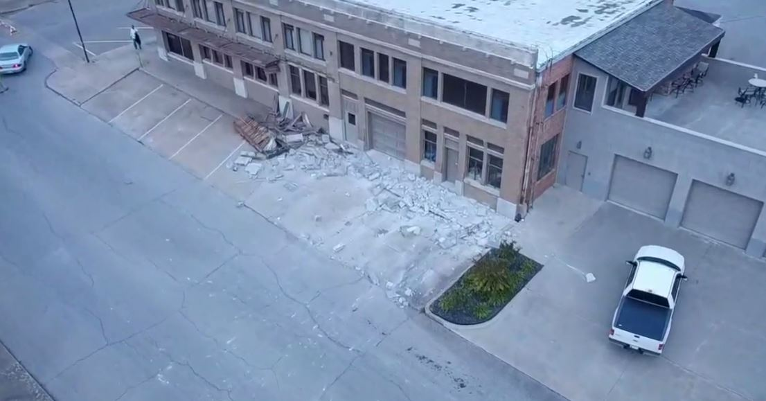 Drone footage of earthquake damage in Cushing. (KTUL)