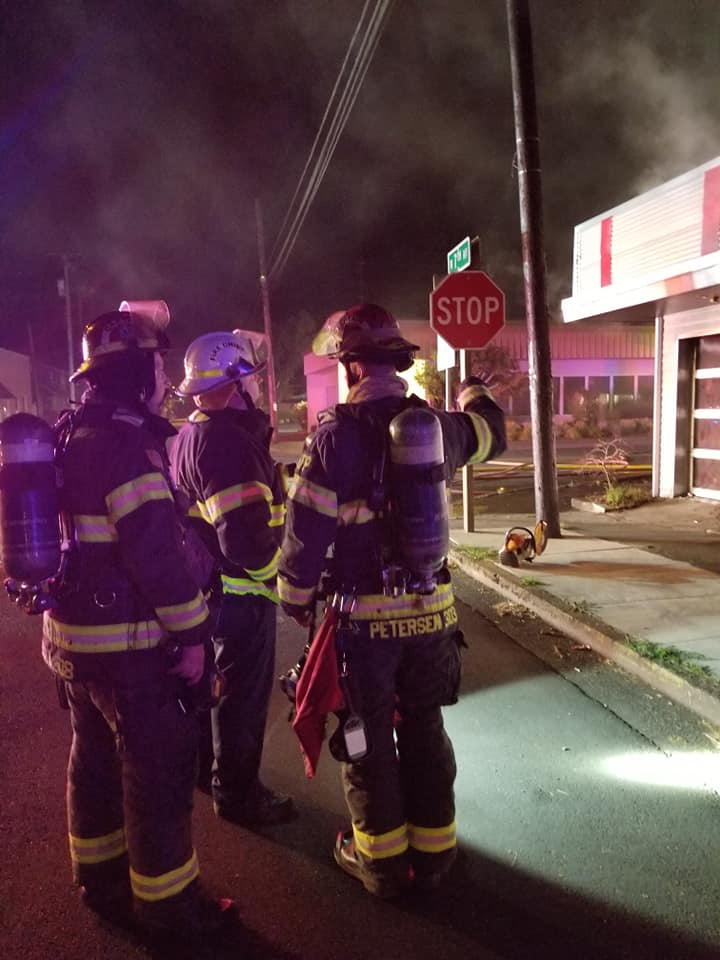 "Firefighters said the fire broke out around 1  a.m. ""Callers reported explosions and subsequent fire to the small commercial building at 691 Ivy street,"" the Junction City Fire Department said. ""Early indications are that it is suspicious in nature."" (Junction City Fire)"