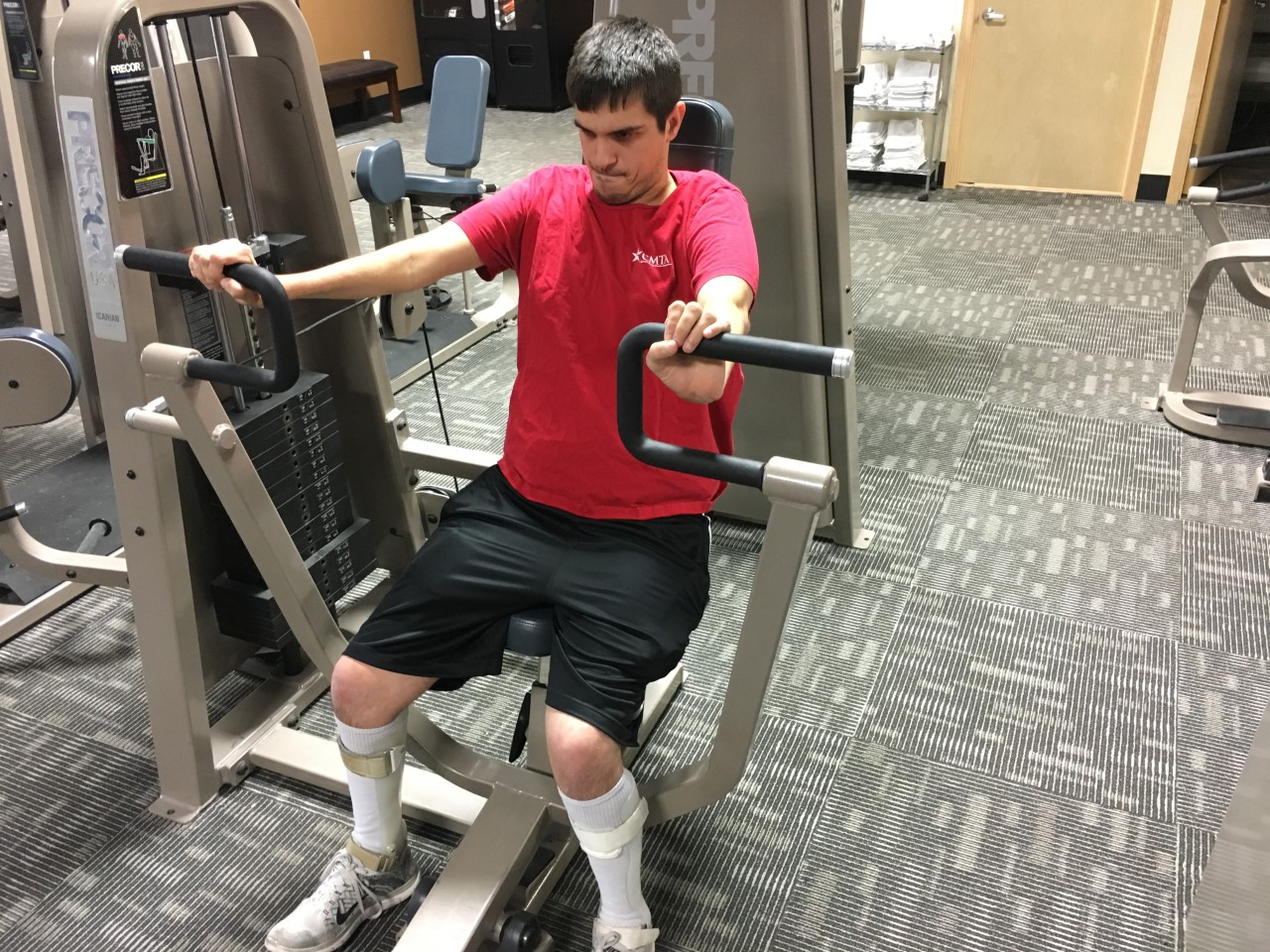 Levi Stanger works out at Anytime Fitness in Hastings.