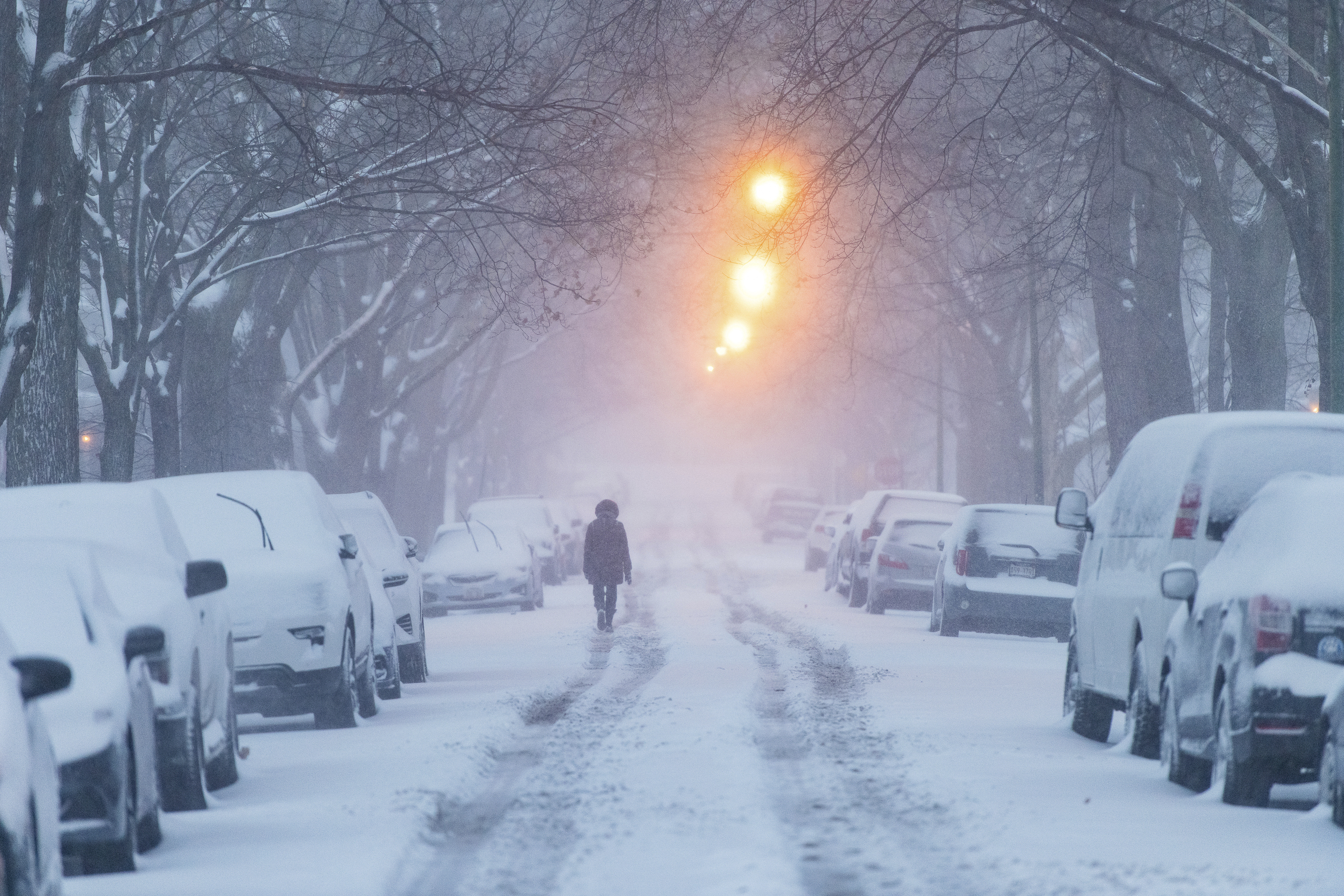 A woman walks down Glenlake Avenue towards North Clark Street as a winter storm batters Chicago, Saturday, Jan. 19, 2019, in Chicago. (Tyler LaRiviere/Chicago Sun-Times via AP)