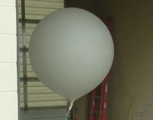 A weather balloon just before it takes flight at the National Weather Service-Birmingham. (WBMA)