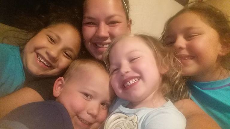 Ryland Ward with Joann Ward in the back and sisters Rihanna (9) far left, Ryland Ward (5) 2nd from left, Brooke (5) 2nd from right, Emily (8 - according to Harley) far right. (Courtesy photo){&amp;nbsp;}<p></p>
