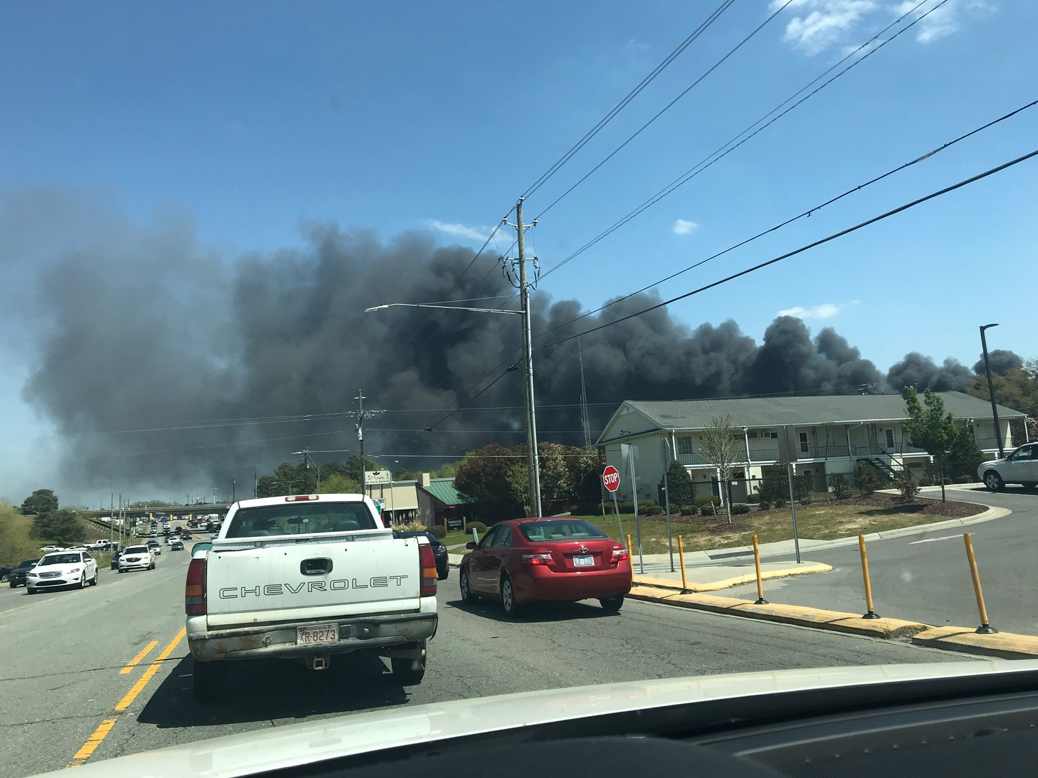 Smoke from Eastern Aluminum Supply fire (Elizabeth Roman, NewsChannel 12 photo)