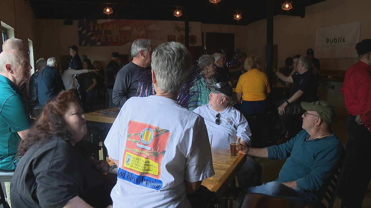 A reception was held Thursday night for the Blue Ridge Honor flight in Hendersonville. (Photo credit: WLOS staff)