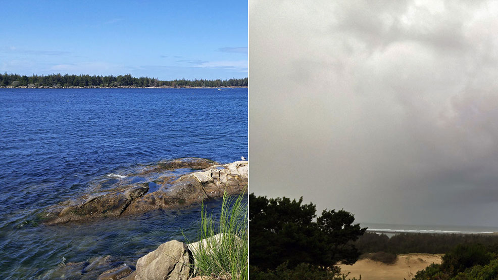 Winchester Bay on September 18 at 1:30 p.m. (left) and at 6:30 p.m. (right) (Photos by Debbie Tegtmeier via BURST.com/KVAL)