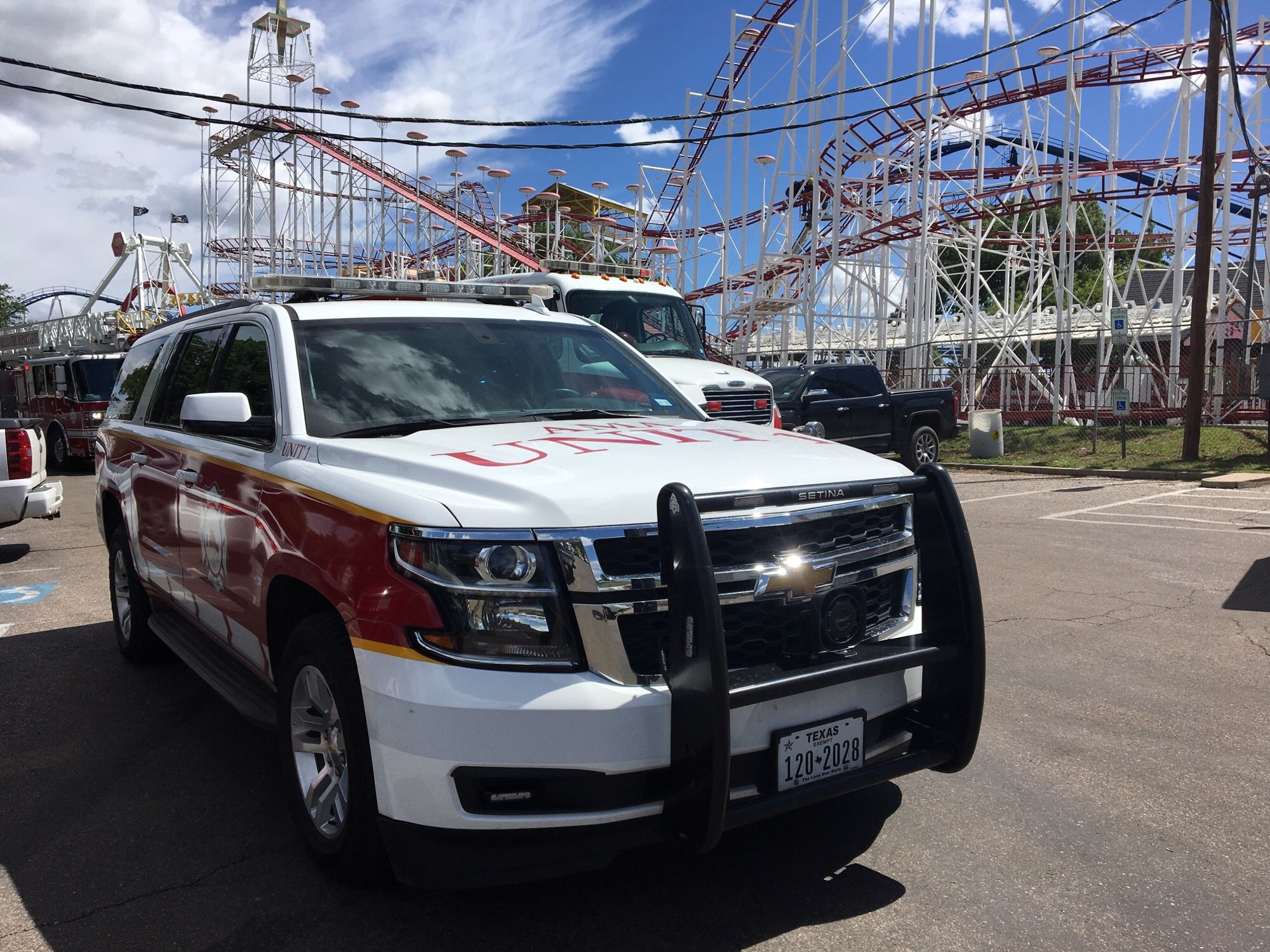Amarillo Fire crews are working to rescue children from a stuck roller coaster at Wonderland Amusement Park. (ABC 7 Amarillo-Steve Douglass)