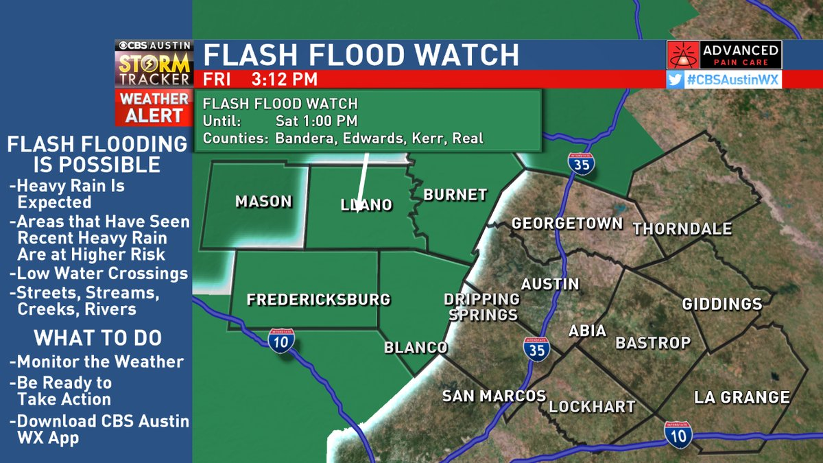 Flash flooding will be possible for Mason Country until 7 AM Saturday, rest of the Hill Country until 1 PM Saturday