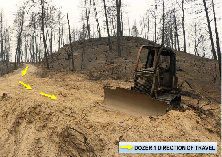The final resting point of Smith's dozer. Photo courtesy of Cal Fire.