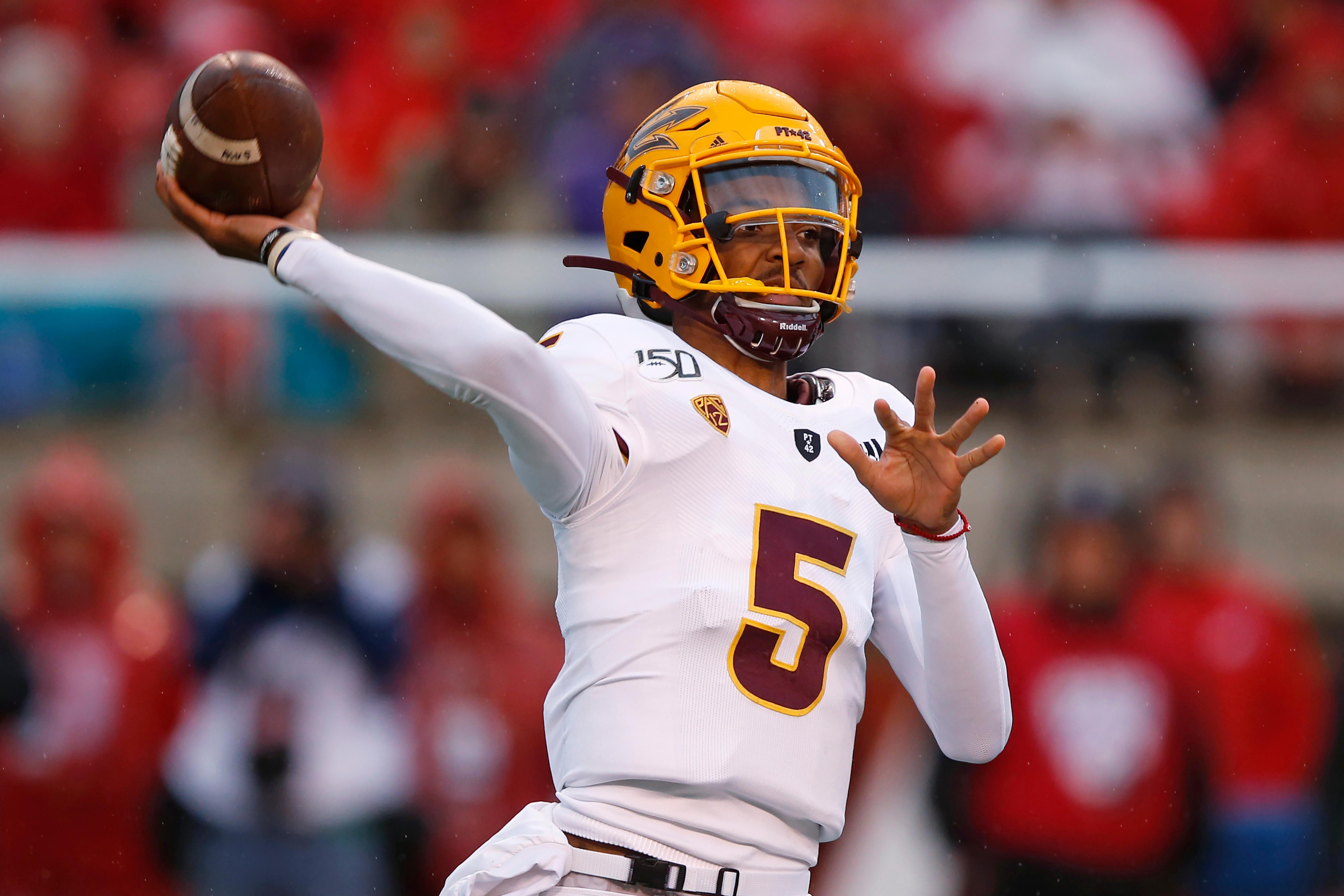 Arizona State quarterback Jayden Daniels throws a pass during the first half of an NCAA college football game against Utah on Saturday, Oct. 19, 2019, in Salt Lake City. (AP Photo/Rick Bowmer)