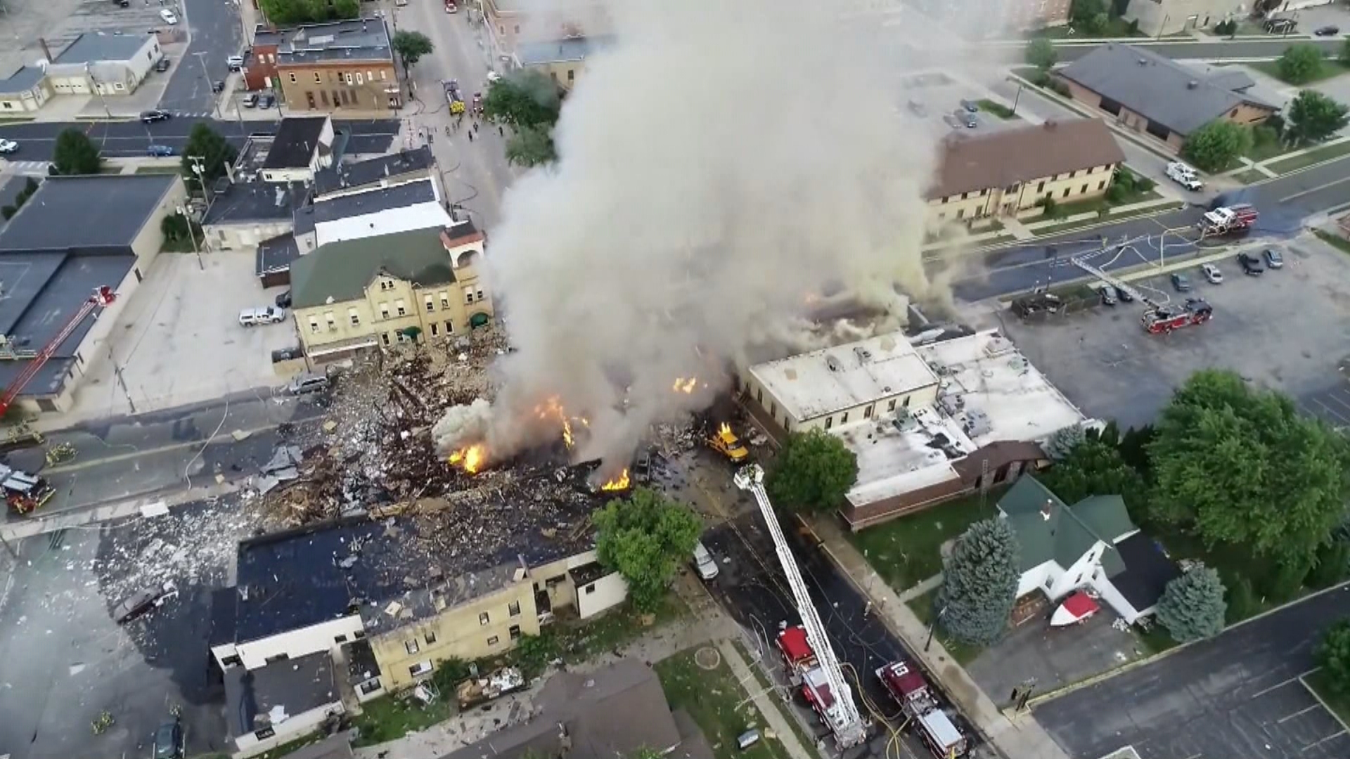 Smoke rises from an explosion in downtown Sun Prairie July 10, 2018. (Image taken from video provided by WMTV-TV)