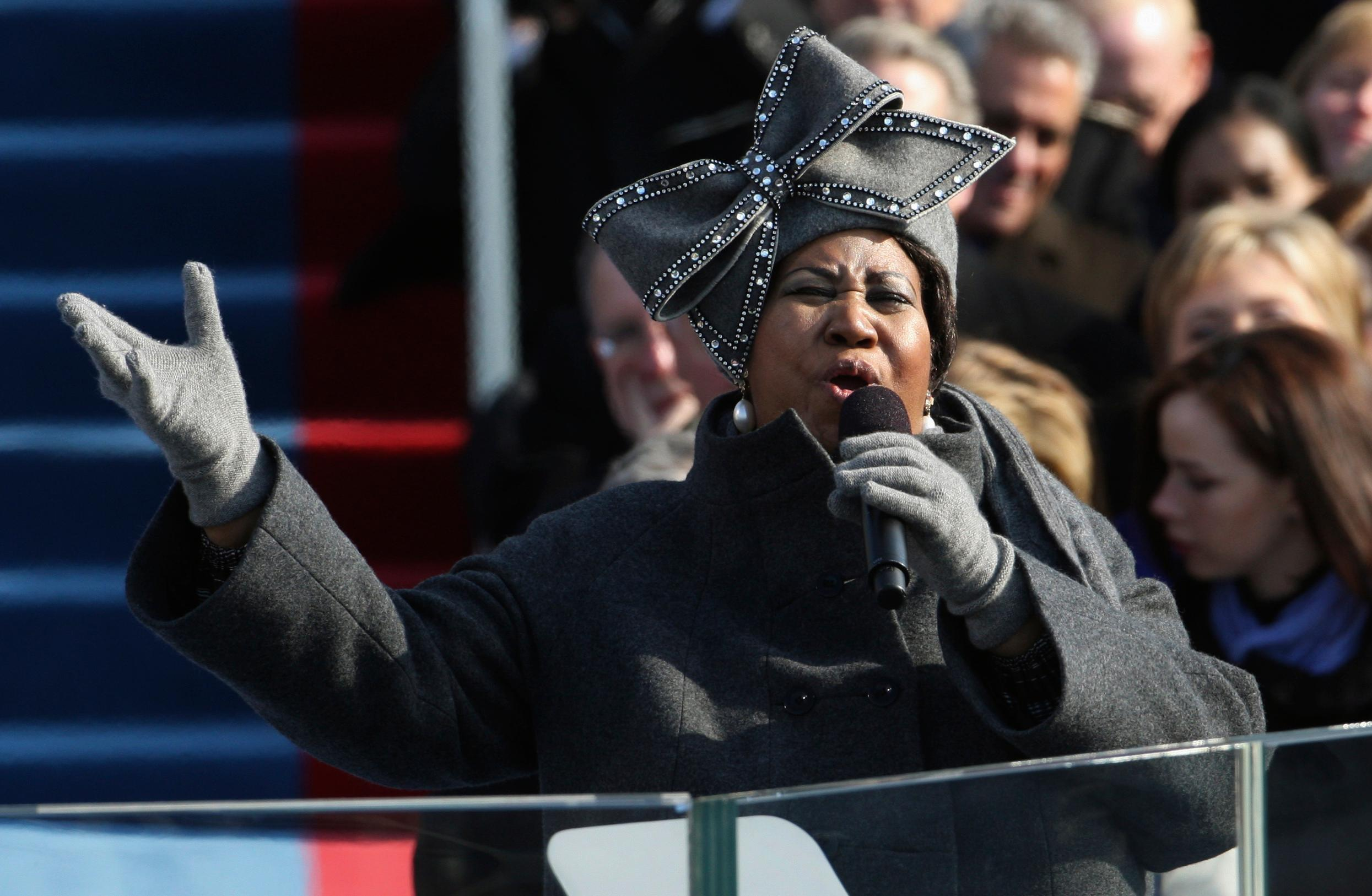 "FILE - In this Jan. 20, 2009 file photo, Aretha Franklin performs at the inauguration for President Barack Obama at the U.S. Capitol in Washington. Franklin died Thursday, Aug. 16, 2018, at her home in Detroit. She was 76. Throughout Aretha Franklin's career, ""The Queen of Soul"" often returned to Washington - the nation's capital - for performances that at times put her in line with key moments of U.S. History. (AP Photo/Ron Edmonds, File)"