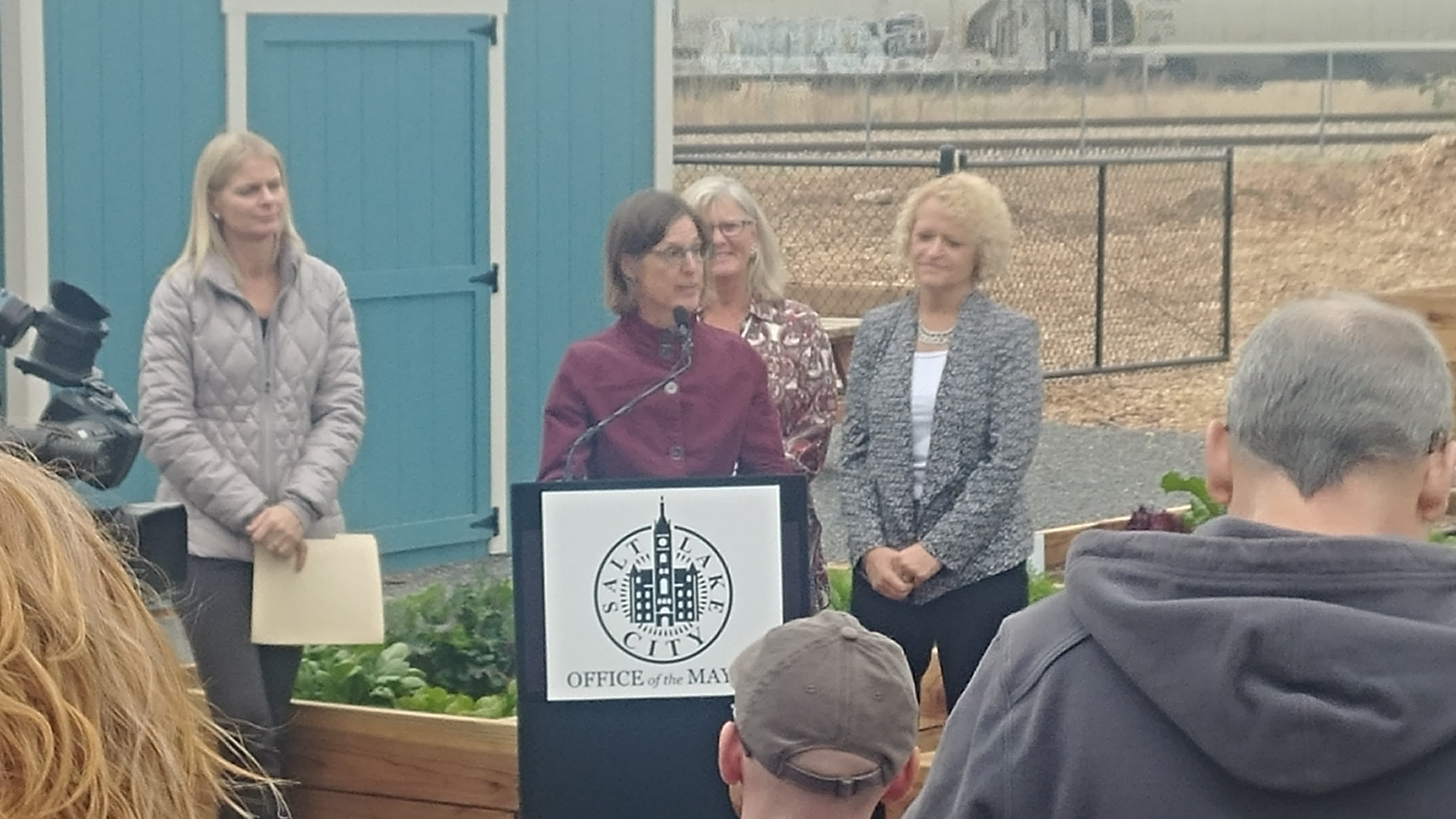 { }Mayor Jackie Biskupski unveiled the newest community garden in Salt Lake City in the Gateway District on Tuesday.{ } (Photo: Brian Morris / KUTV)