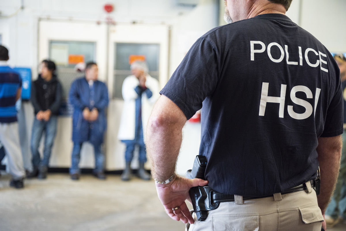 On Aug. 7, 2019, ICE agents conducted worksite enforcement operations in Jackson, Mississippi. In addition to executing federal search warrants and seizing business records pertaining to the ongoing criminal investigation, ICE officers in partnership with HSI detained approximately 680 immigrants who were unlawfully working at the plants. (Photo: ICE.gov){ }