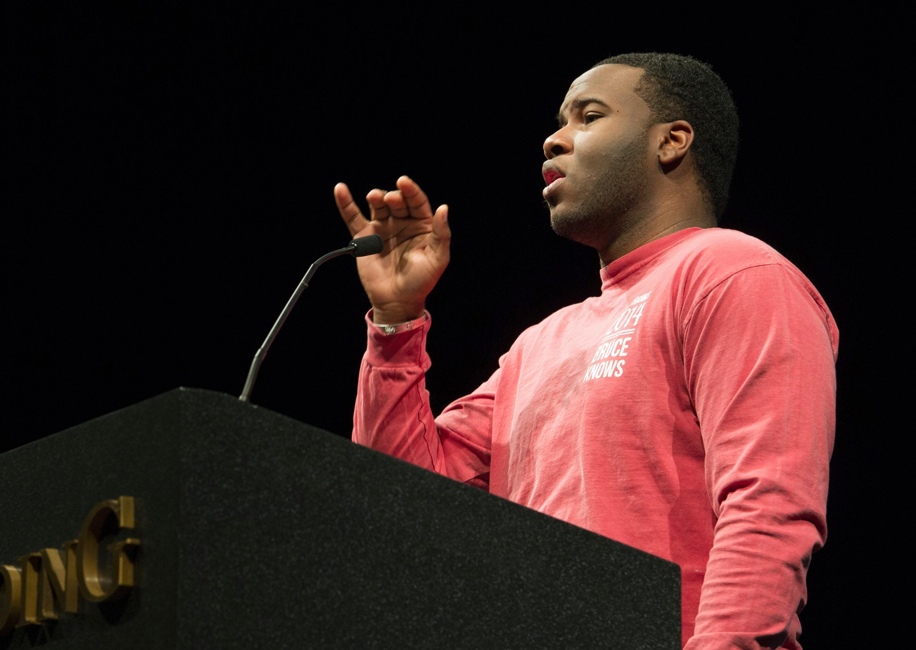 FILE - This March 24, 2014, file photo provided by Harding University in Searcy, Ark., shows Botham Jean, speaking at the university. Jean was fatally shot Sept. 6, 2018, by off-duty officer Amber Guyger who says she mistook his residence for her own. (Jeff Montgomery/Harding University via AP, File)