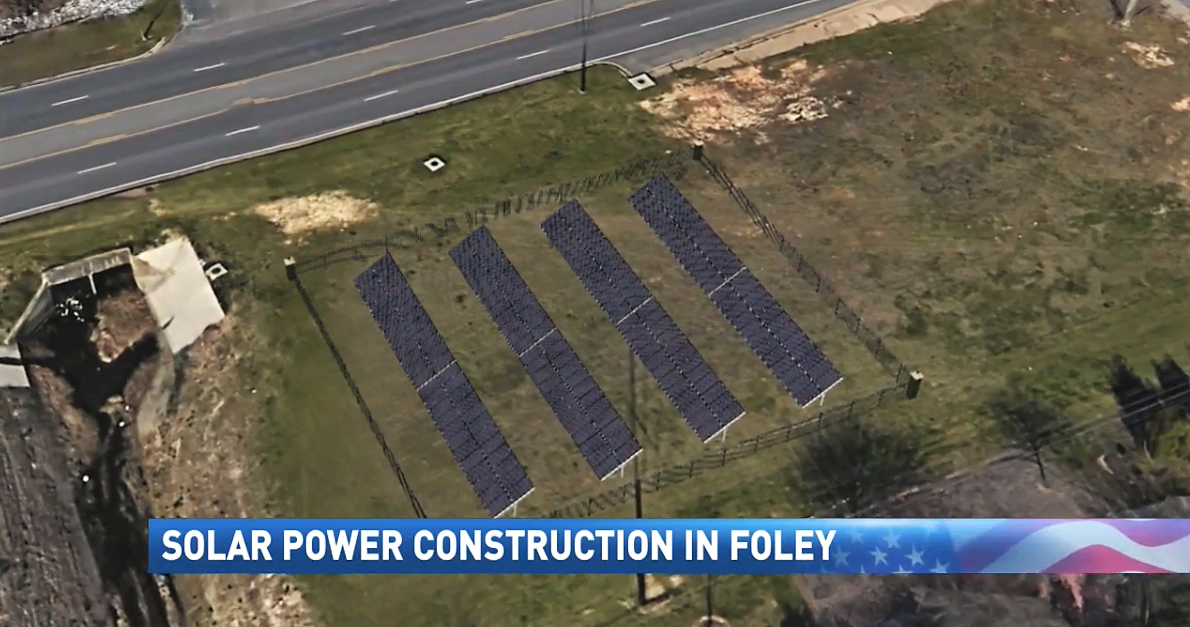 (img: WPMI){ }City of Foley adding solar panels along Highway 59