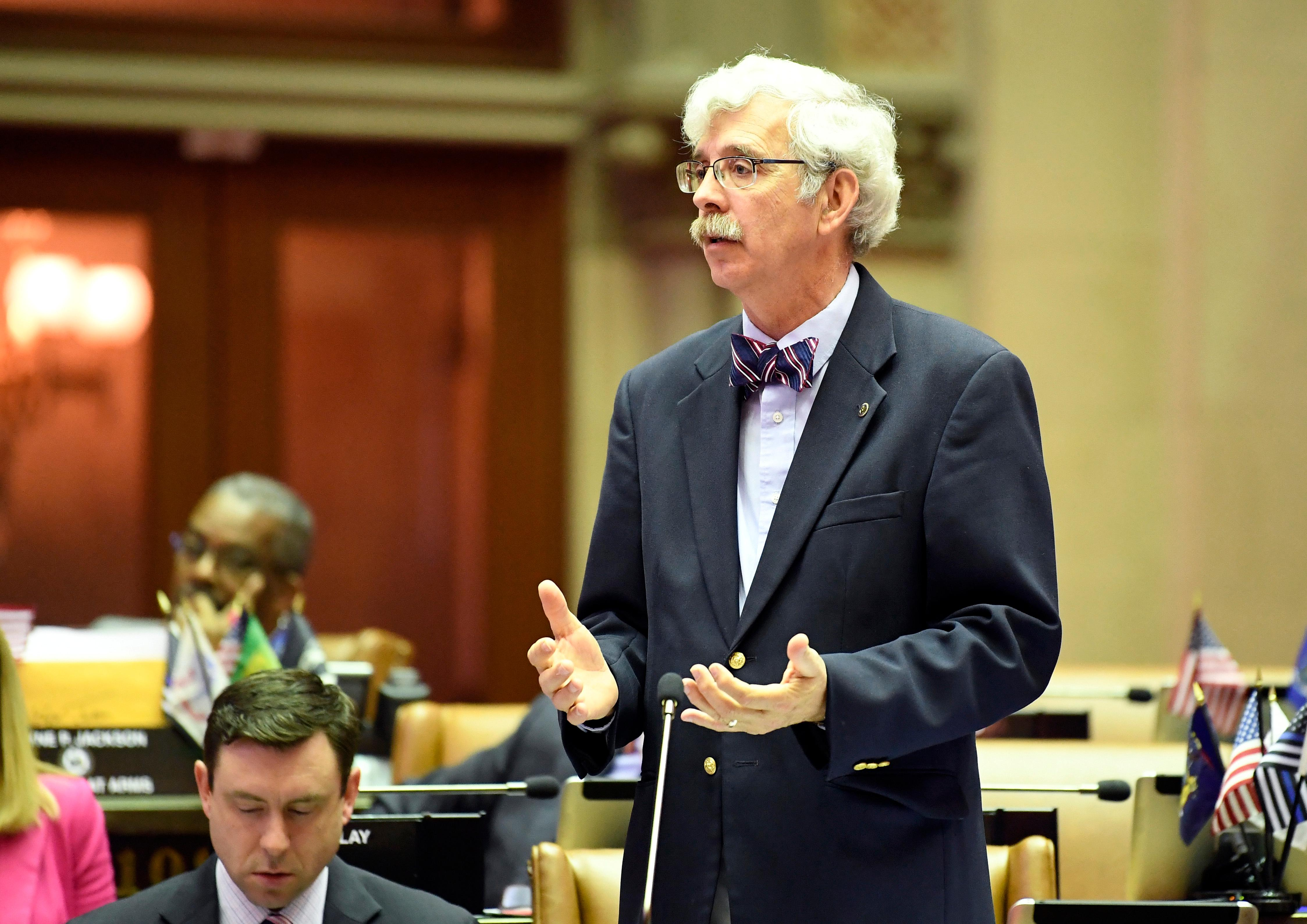 Assemblyman Andy Goodell, R-Jamestown, speaks to members of the New York state Assembly against legislation that authorizes state tax officials to release, if requested, individual New York state tax returns to Congress, during a vote in the Assembly Chamber at the state Capitol Wednesday, May 22, 2019, in Albany, N.Y. (AP Photo/Hans Pennink)
