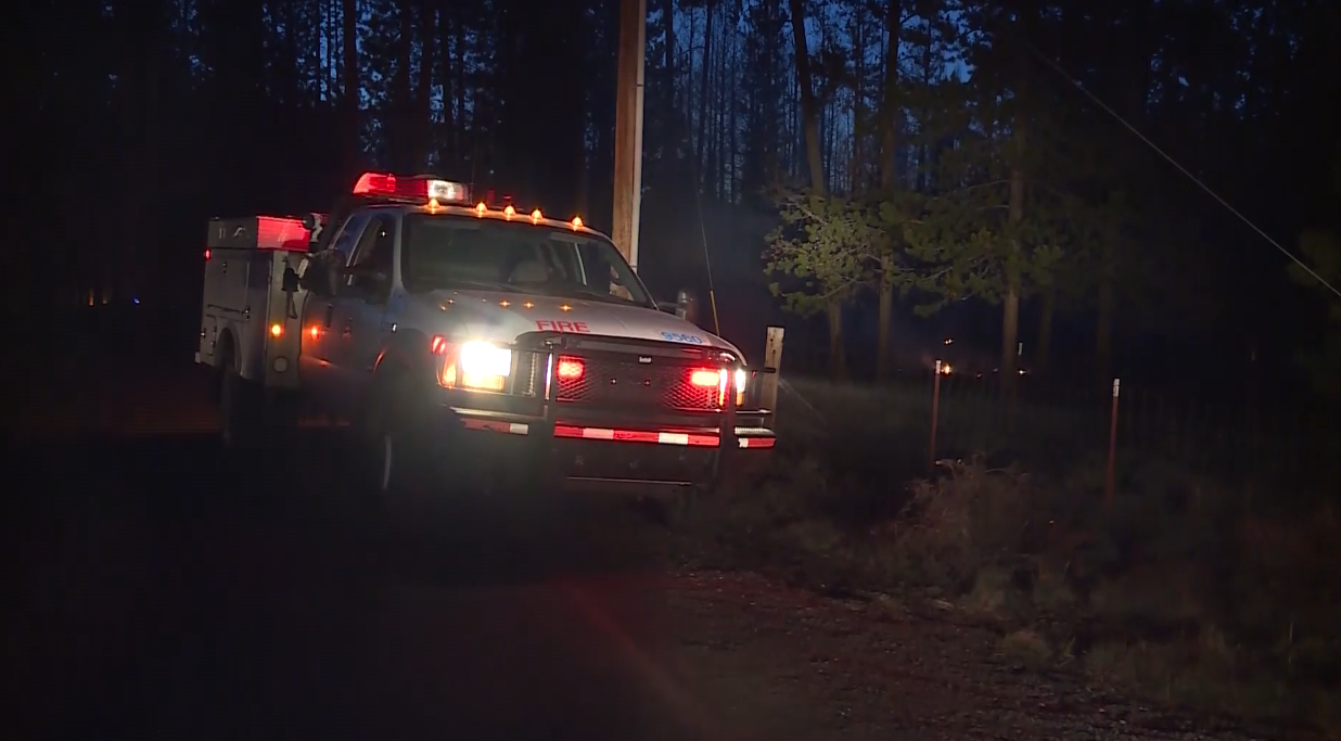 Authorities evacuated homes in the path of a fast-moving brush fire in central Oregon that destroyed one home. The Deschutes County Sheriff's Office says the fire started north of La Pine Wednesday afternoon. (Image from KOIN video via CBS)