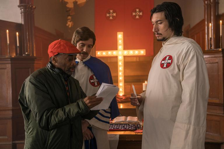 (l-r.) Director Spike Lee, actors Topher Grace and Adam Driver on the set of Spike Lee's BlacKkKlansman, a Focus Features release. (Photo: David Lee / Focus Features)