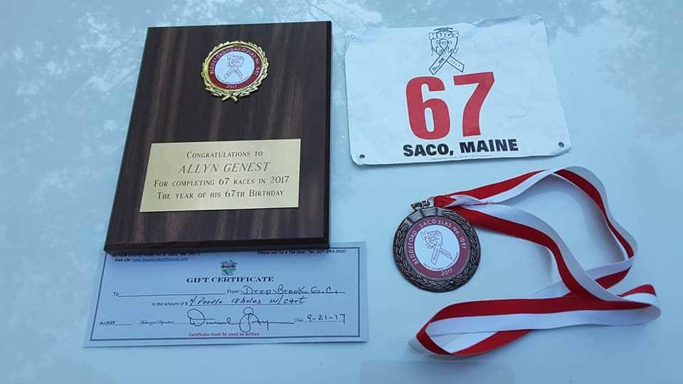 Genest's 67th race was &quot;Hugs from{&amp;nbsp;} Haley 5k&quot; in Saco on September 24, 2017 (Courtesy: Allyn Genest).<p></p>