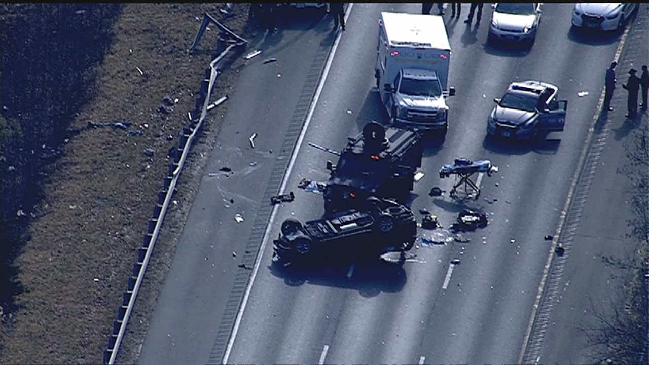 A man has been flown to the hospital with serious injuries after Virginia State Police say he got out of his car, fired shots at a deputy and a trooper, then got back into his car and crashed Thursday morning. (Photo: SkyTrak7/WJLA)<p></p>