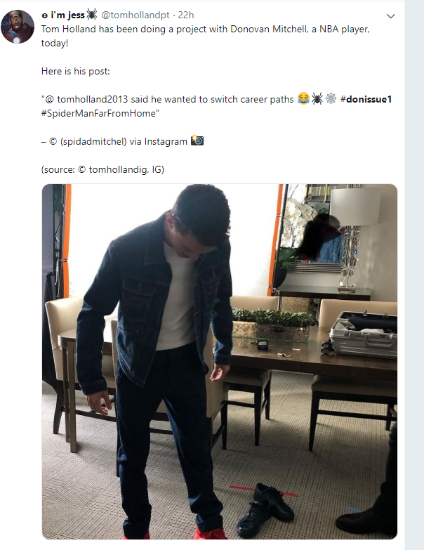 Donovan Mitchell teases new 'Spida' shoes in 'Spider-Man: Far From Home' Twitter pic. (Photo: Twitter screengrab from Donovan Mitchell)