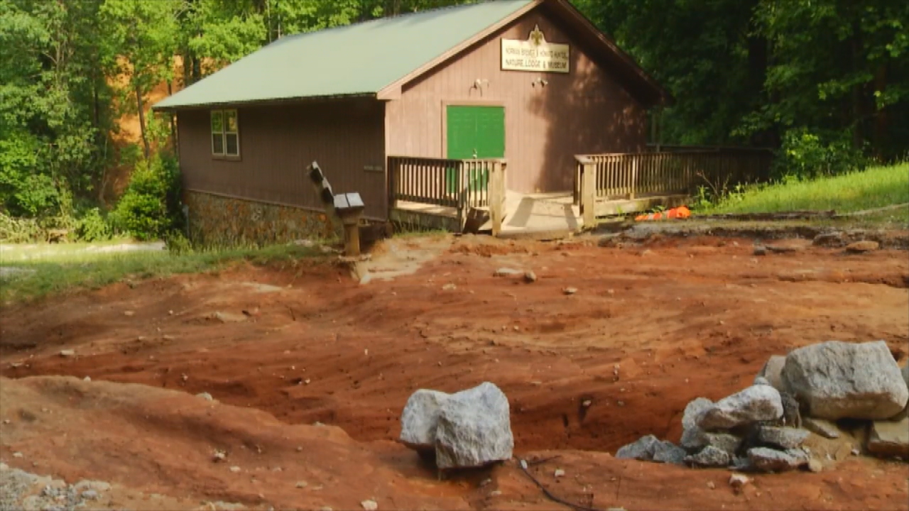 <p>A boy scout campground in Saluda is closed until further notice after Friday's mudslides and flash floods destroyed it. (Photo credit: WLOS staff)</p>