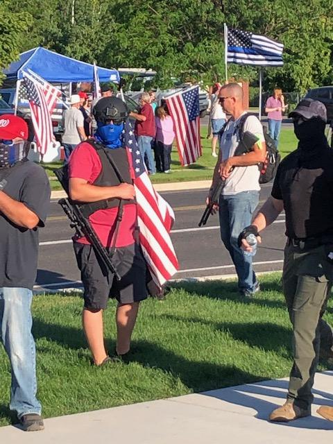 Two groups of protesters in Cottonwood Heights on Monday, August 3, 2020. (Photo: Jim Spiewak/ KUTV)