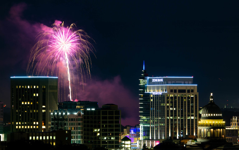Fireworks explode over downtown Boise Wednesday during the 4th of July celebration. (Photo Robin Hadder)