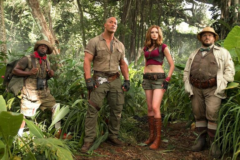 "(l to r) Kevin Hart (Franklin ""Moose"" Finbar), Dwayne Johnson (Dr. Smolder Bravestone), Karen Gillan (Ruby Roundhouse) and Jack Black (Professor Shelly Oberon). (Photo: Sony)"