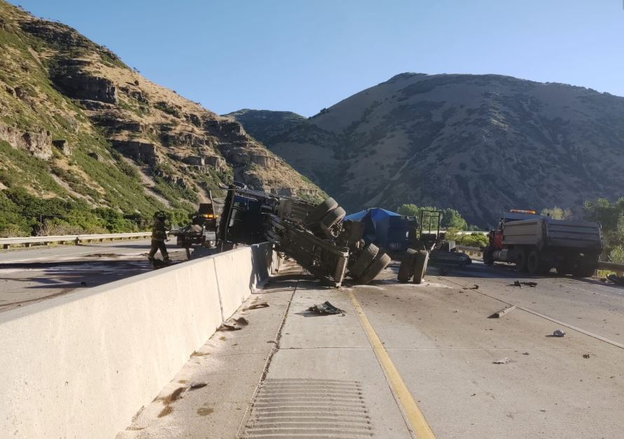 A semi truck is blocking traffic on Interstate 84 after it rolled over Tuesday morning. (Photo: UHP)
