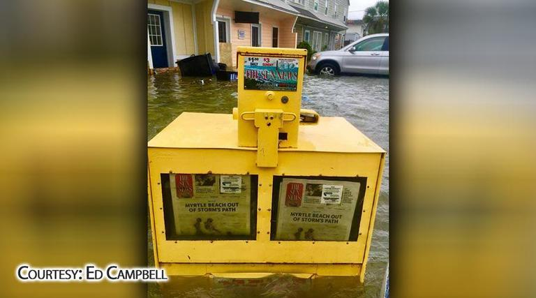 This newspaper box in Myrtle Beach showed the irony of Irma. (Ed Campbell)