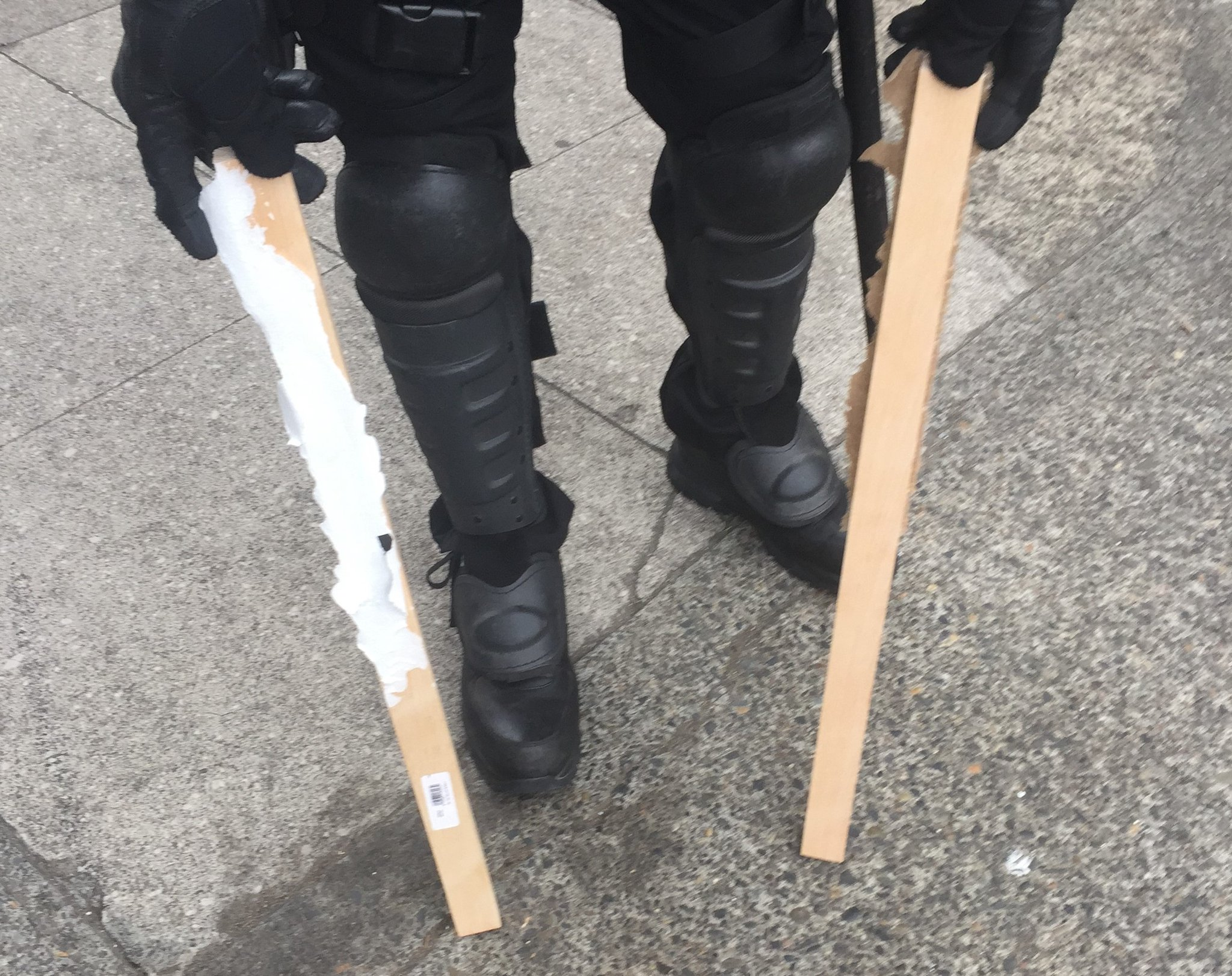 Portland Police Bureau says they seized bear spray, shields, and metal wooden poles at dueling protests on Aug. 17, 2019. KATU photo{ }
