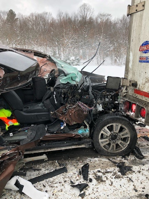 A vehicle involved in a secondary accident on Interstate 81 (CNYCentral Photo)