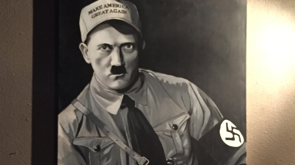 Painting Of Hitler Wearing Donald Trump Hat Taken Down