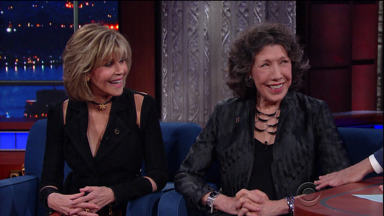 Lily Tomlin and Jane Fonda during an appearance on CBS's 'The Late Show with Stephen Colbert.'  Lily and Jane promote the show 'Grace and Frankie.Featuring: Lily Tomlin, Jane FondaWhere: United StatesWhen: 28 Mar 2017Credit: Supplied by WENN.com**WENN does not claim any ownership including but not limited to Copyright, License in attached material. Fees charged by WENN are for WENN's services only, do not, nor are they intended to, convey to the user any ownership of Copyright, License in material. By publishing this material you expressly agree to indemnify, to hold WENN, its directors, shareholders, employees harmless from any loss, claims, damages, demands, expenses (including legal fees), any causes of action, allegation against WENN arising out of, connected in any way with publication of the material.**