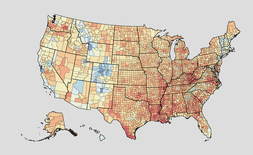 Graph shows the obesity rate among men in every county in America.{ }The red areas are doing the worst, blue the best, the orange hues lean more toward the bad, and yellow ones are in the middle. (Institute for Health Metrics and Evaluation/University of Washington)