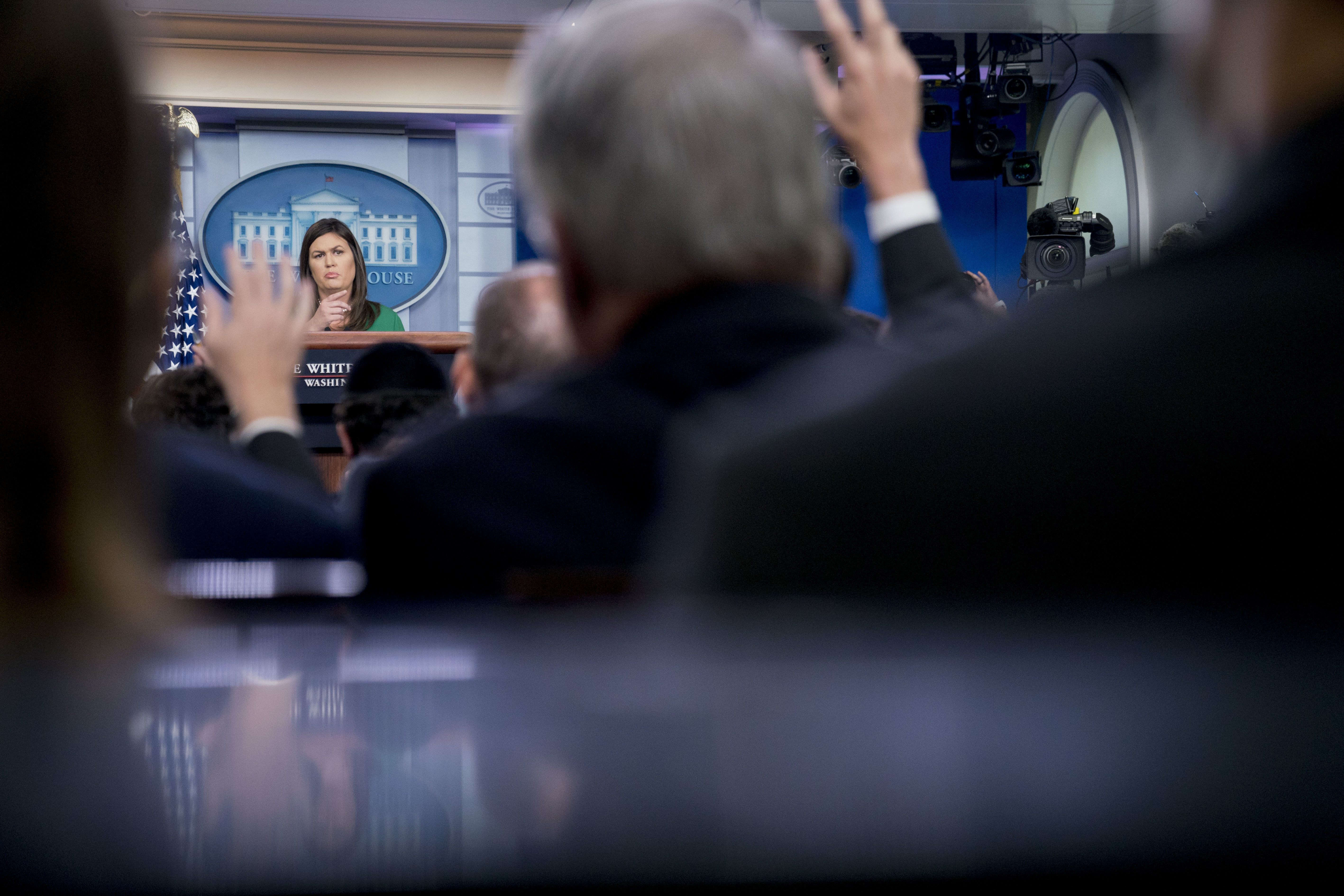 White House press secretary Sarah Huckabee Sanders calls on a member of the media during the daily press briefing at the White House, Wednesday, Aug. 15, 2018, in Washington.{ } (AP Photo/Andrew Harnik)