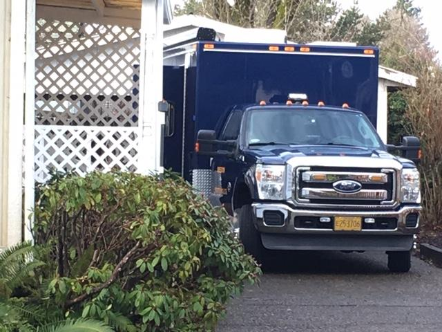 "An Oregon State Police vehicle sits in the driveway of a Creswood Drive home in Creswell on Thursday, January 10, 2019. Police are investigating the ""suspicious"" death of a woman found injured there January 7. She later died from her injuries. (SBG)"