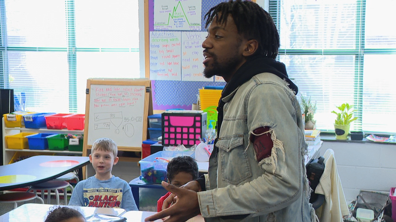 <p>A wide range of professionals talked with kids at Avery's Creek Elementary about the choices they can make, and why getting a good education is so important. (Photo credit: WLOS staff)</p>
