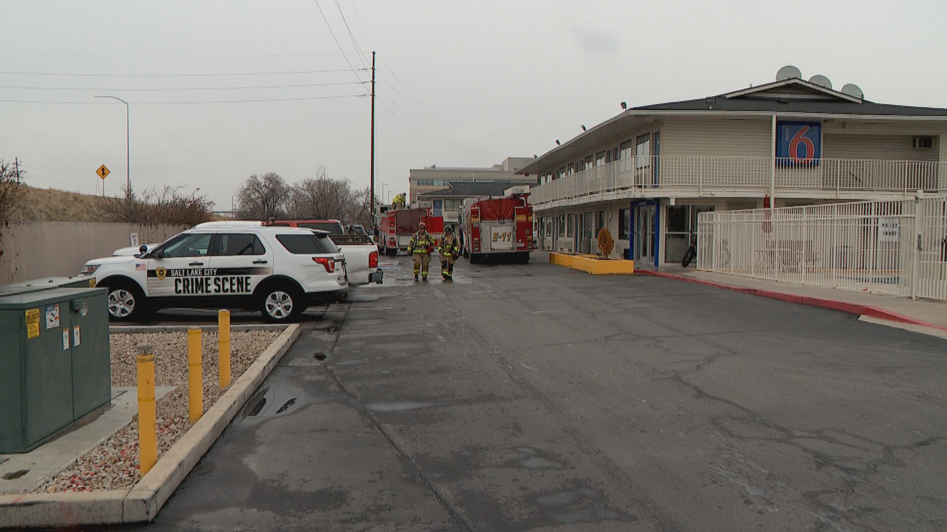 A man is in critical condition after a small fire burned up a room at a Motel 6 in Salt Lake City on Sunday. (Photo: KUTV)