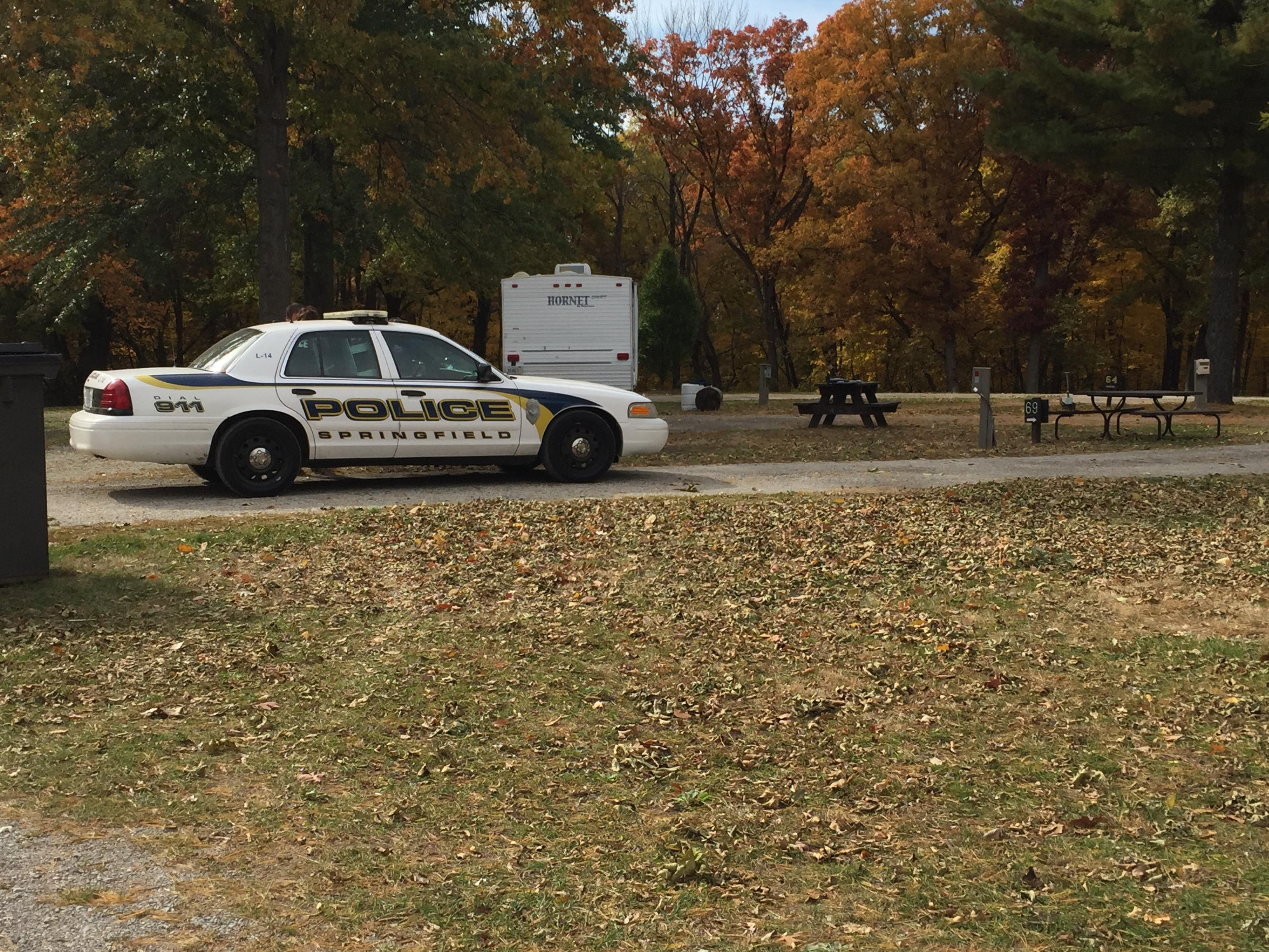 Police searching for the suspect at Riverside Campgrounds (Rachel Droze)