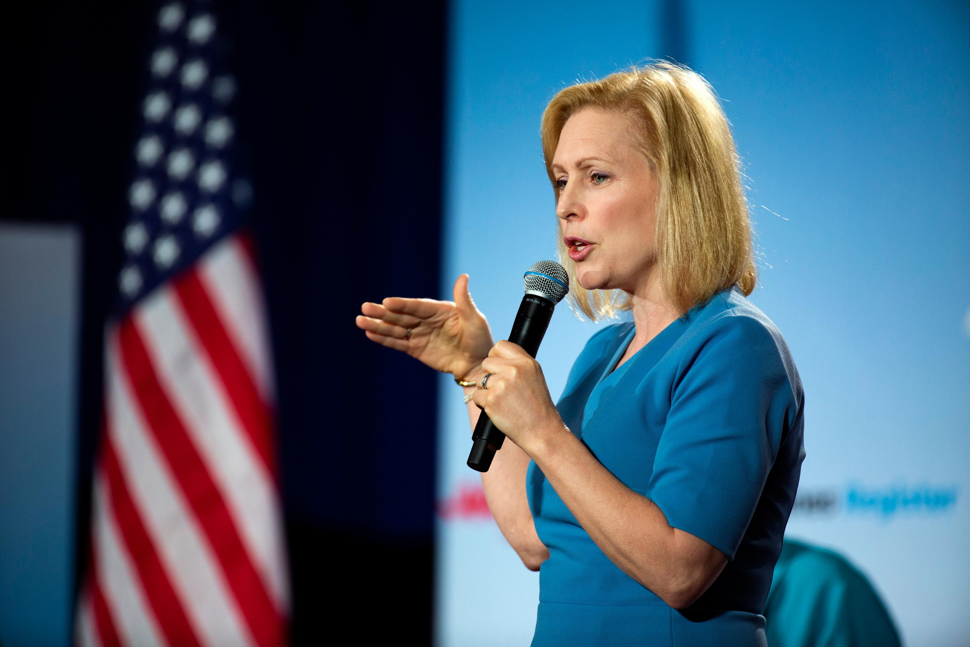 U.S. Sen. Kirsten Gillibrand, D-New York, speaks at the AARP Presidential Forum at the Waterfront Convention Center in Bettendorf, Iowa on Tuesday, July 16, 2019.  (Olivia Sun/The Des Moines Register via AP)