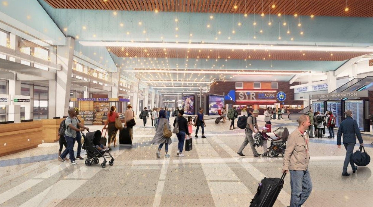 Artist rendering of Syracuse Airport following renovations