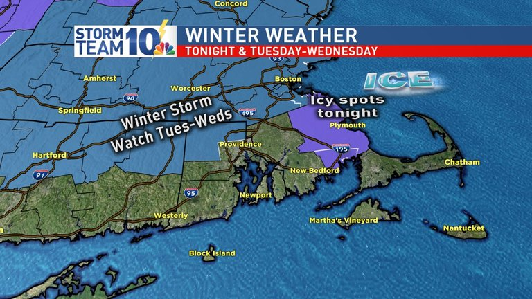 A Winter Storm Watch is in effect for NW RI at this point for Tuesday night into Wednesday{ }