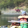 Rafters watch in awe as firefighting helicopters dip buckets in Oregon river