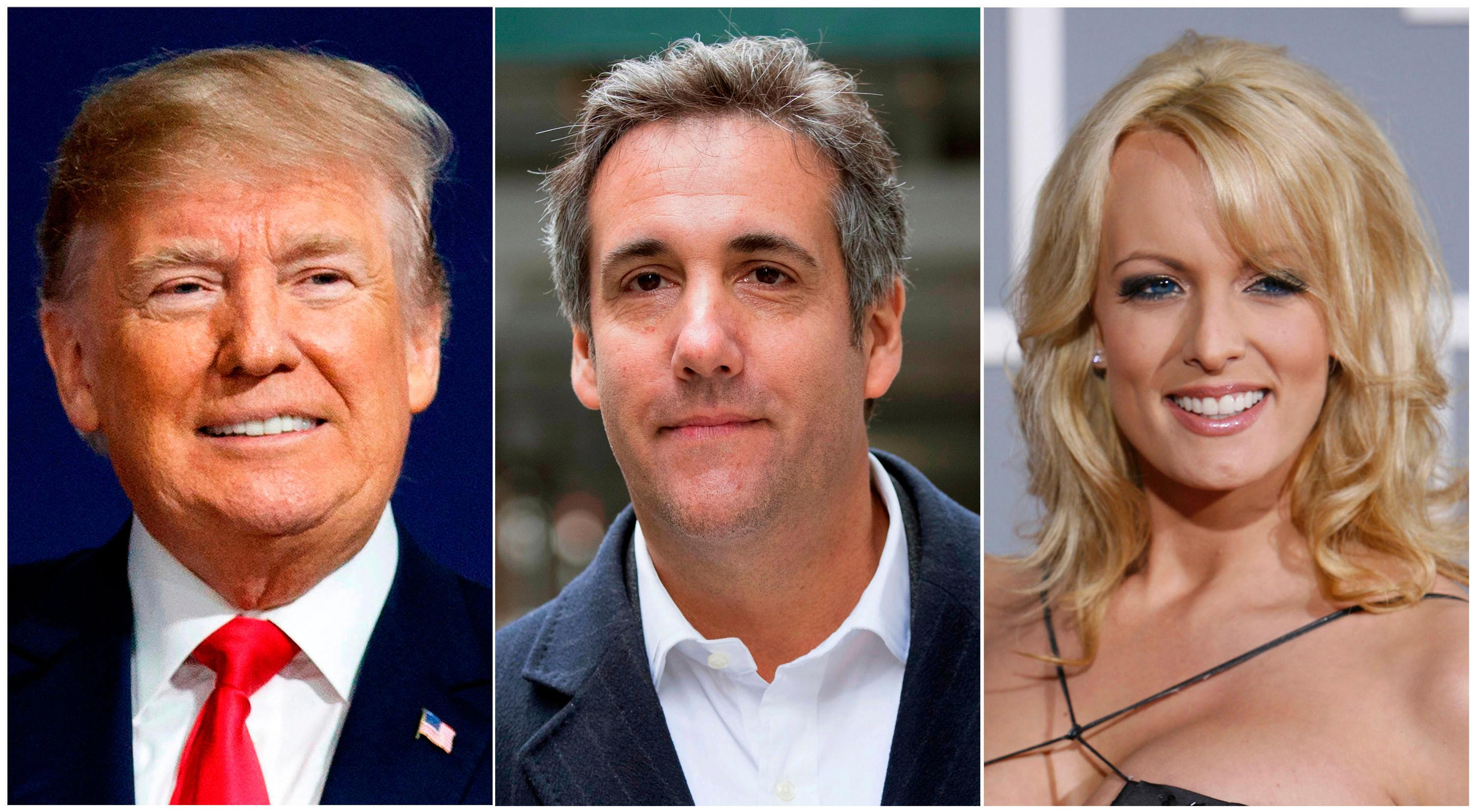 FILE - This combination of file photo shows, from left, President Donald Trump, attorney Michael Cohen and adult film actress Stormy Daniels. (AP Photo/File)